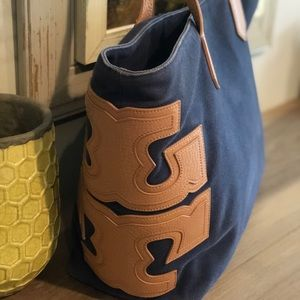 Tory Burch navy canvas/leather stacked T tote